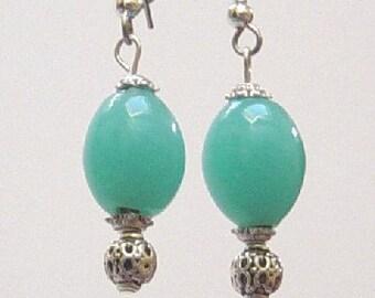 Blue Earrings Turquoise Earrings Nickel free Earrings with Blue Glass Beads Blue Dangle Earrings