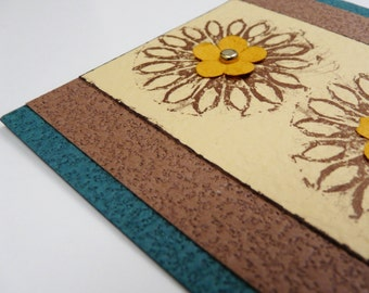 Greeting Card Flower Medallion with envelope Green card with brown and tan layers brown medallion with yellow & white flowers