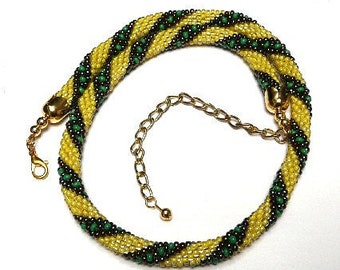 Bead Crochet Necklace in Bright Yellow and Dark Bronze with Grass Green