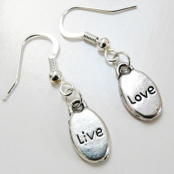 Live Love Earrings Silver Tone Oval Disk Text Live and Love Earrings Earwires in Sterling Silver Plated French Style