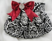 Pleated Clutch/Evening Bag/Purse/Wedding --BAROQUE Damask-Black and White with Deep Red-Burgundy Satin Bow and Crystal