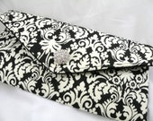 Envelope Clutch/Evening Bag/Purse/Wedding/Bride/Bridesmaid--Black and Ivory Mini Muse Traditional Damask with Crystal-Rhinestone Button