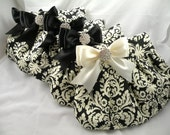 Bridal Pack 5 Purses Black and Ivory TRADITIONAL DAMASK with Satin Bows & Clear Crystals Or Pick Your Bow Color At Your Request 10% Discoun