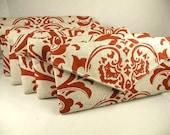 Bridal Pack 6 Purses  Auburn-Burnt Orange & Linen Traditions Damask  Bridesmaid Gift  Clutch Evening Bag ENVELOPE CLUTCH 10% Discount