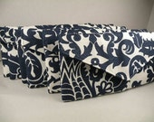 Bridesmaid Clutches 6 Envelope Purses--Navy and White AMSTERDAM Envelope Clutch  -- 10% Discount--8 Colors Available