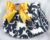 Pleated Clutch  Evening Bag  Purse  Wedding  Bridesmaid  AMSTERDAM  Navy and White with Sunflower Yellow Satin Bow and Crystal