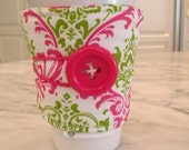 Coffee Sleeve-Cozy-Adjustable Drink Cozy-Cuff--Hot Pink and Chartreuse  MADISON Damask -Java Bling