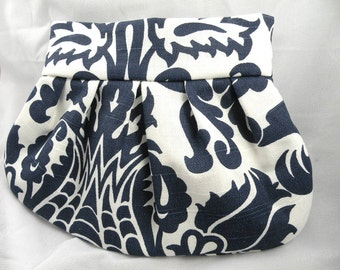 Pleated Clutch Purse Wedding Bride Bridesmaid AMSTERDAM Navy and White--8 Colors Available