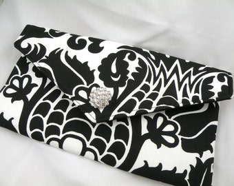 Envelope Clutch Evening Bag Purse Clutch Wedding Bride Bridesmait--Black and White Amsterdam Damask with Clear Crystal--8 Colors Available