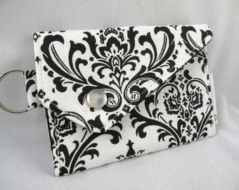 Business Card Holder-Card Case-Coin Purse-  White-Black MADISON with Snap Flap Closure and Key Ring