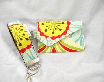Gift Set Key Fob Key Chain Card  Holder Coin Purse Pop Garden POP DAISY