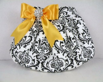 Pleated Clutch/Evening Bag/Purse/Wedding --Madison-Black and White with Sunflower Yellow Satin Bow and Clear Crystal
