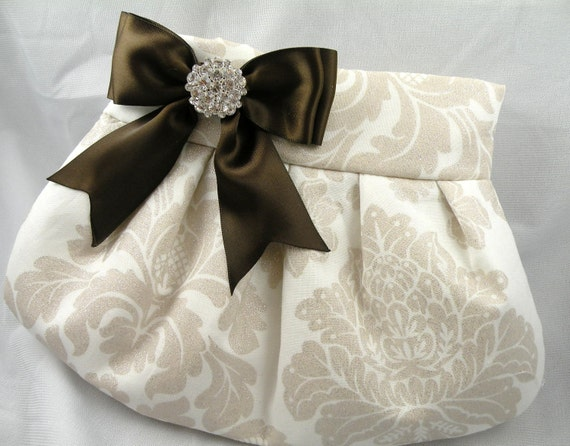 Pleated Clutch Evening Bag Purse Wedding CHAMPAGNE SHIMMER Damask with Chocolate Brown Satin Bow and Clear Crystal