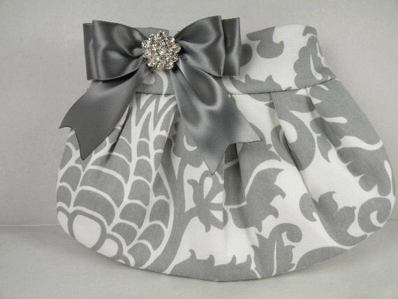 Pleated Clutch Evening Bag Purse Weddings  Bride Bridesmaid--Gray and White AMSTERDAM with Pewter Satin Bow and Clear Crystal
