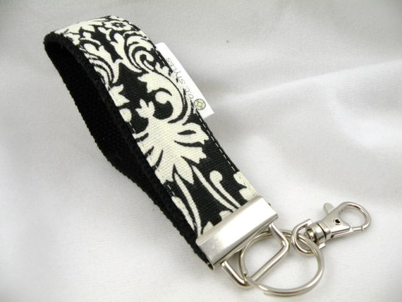 Key Fob Key Chain/Wristlet-with Swivel Hook--Black-Ivory Traditional Damask