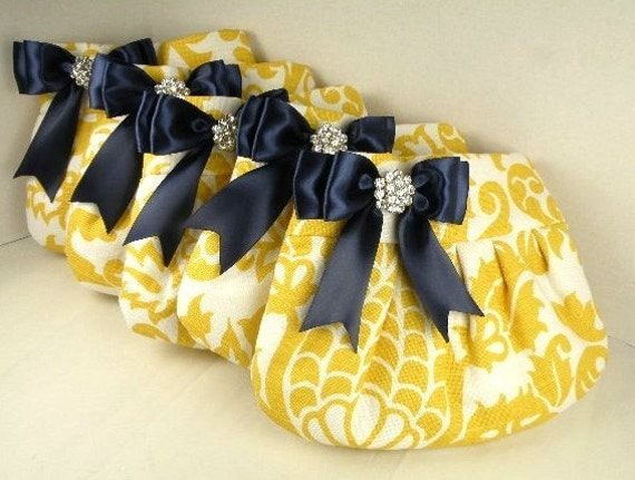 Bridal Pack 5 Pleated Clutches--Purse  Wedding  Bridesmaid  AMSTERDAM  Corn Yellow and White with Navy Satin Bow and Crystal--10% Discount