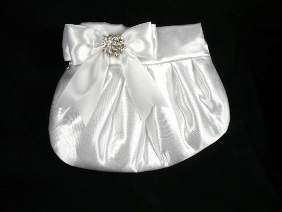 Bridal Purse Pleated Clutch Wedding --White Satin with White Satin Bow and Clear Crystal
