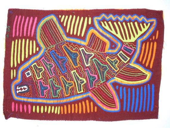 Mola Textile, Abstract- Native Kuna Indian Reverse Applique Fish 11