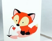 Fox Valentine Note Card by Geri Shields