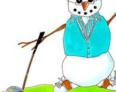 Golf Guy Snowman - Note Card