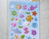 Kawaii Under the Sea Sticker Sheet Purple Label Free Shipping