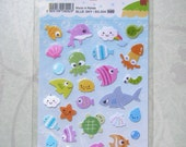 Kawaii Under the Sea Sticker Sheet Yellow Label Free Shipping