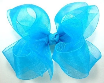 Double Layer Turquiose Organza Boutique Hairbow