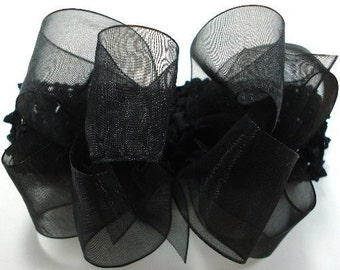 Double Layer Black Organza Boutique Hairbow with black crochet headband