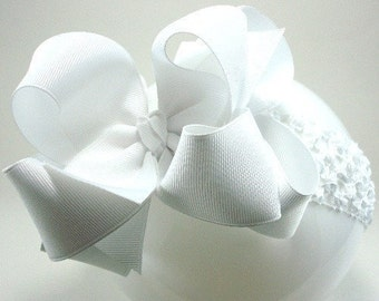 Double Layer Classic White Boutique Hairbow