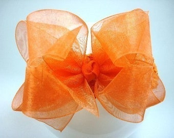 Double Layer Orange Organza Boutique Hairbow