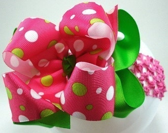 Double Layer Lime Green and Shocking Pink Funky Dots Boutique Style Hairbow