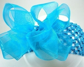 Double Layer Turquiose Organza Boutique Hairbow with turquiose crochet headband