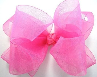 Double Layer Hot Pink Organza Boutique Hairbow