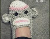 Download Now - CROCHET PATTERN Sock Monkey Slippers - Ladies Sizes - Pattern PDF