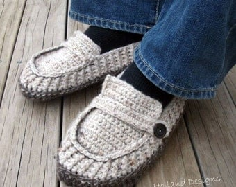 Download Now - CROCHET PATTERN Modern Mens Loafers / Slippers - Pattern PDF