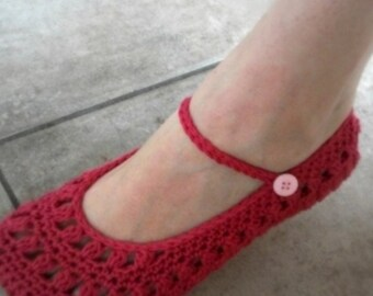 Download Now - CROCHET PATTERN Ladies Sweetheart Mary Janes - Slippers - Pattern PDF