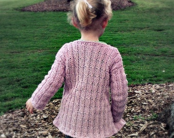Download Now - CROCHET PATTERN Mock Cable-Knit Cardigan - Newborn to 12 Years - Pattern PDF