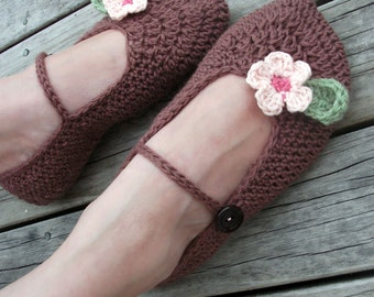 Download Now - CROCHET PATTERN Ladies Boutique Mary Jane Slippers - Pattern PDF