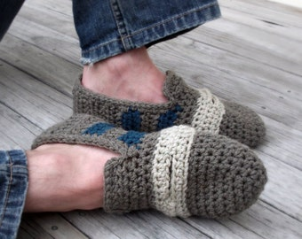 Download Now - CROCHET PATTERN Penny Loafer Slippers - Mens Sizes - Pattern PDF