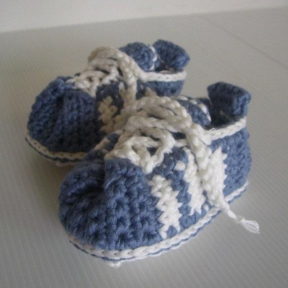 Download Now - CROCHET PATTERN 3-Stripe Baby Tennis Shoes  - Pattern PDF