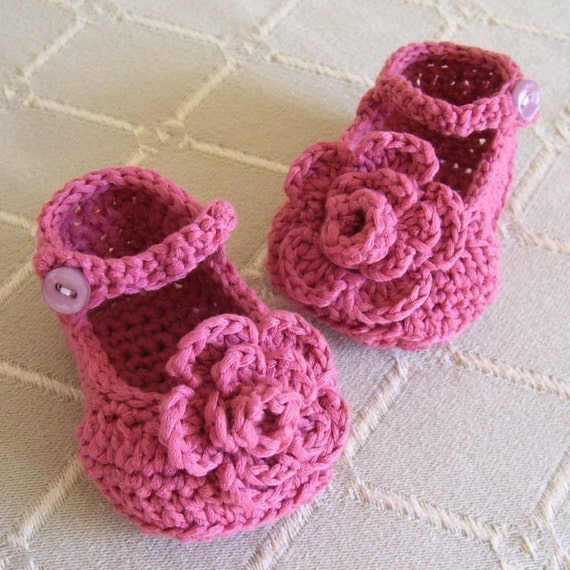 Download Now - CROCHET PATTERN Rose Garden Mary Janes Baby Shoes - Pattern PDF