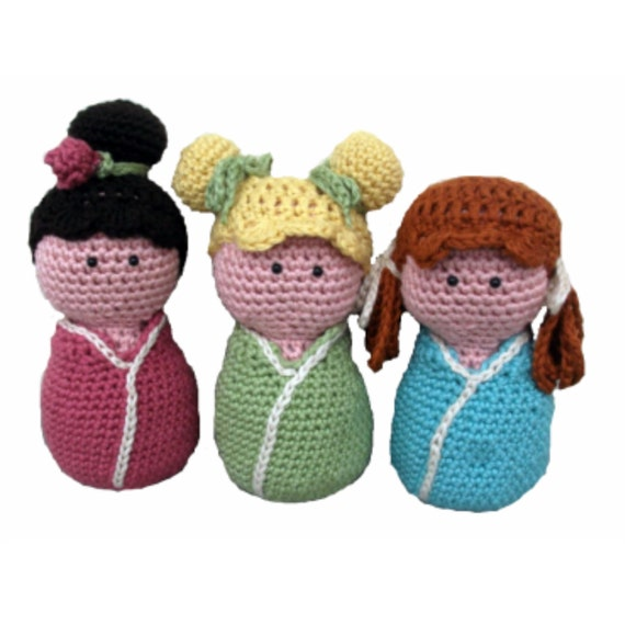 Download Now - CROCHET PATTERN Kokeshi Babies - Set of 3 Amigurumi Dolls - Pattern PDF