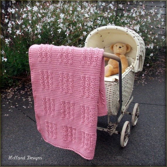 Download Now - CROCHET PATTERN Cabled Squares Blanket - Any Size - Pattern PDF