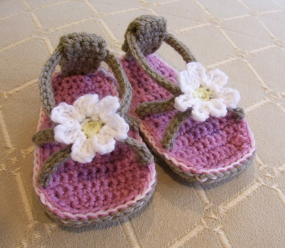 Daisy Baby Flip Flops - Baby and Toddler - Pattern PDF