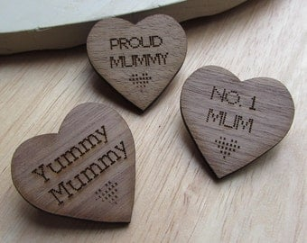 Wooden Mothers day, first time mum brooch.