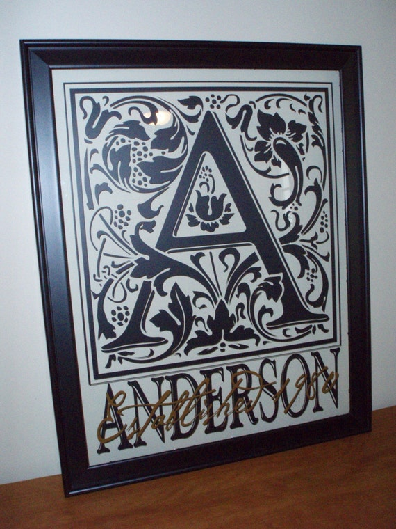 Small 11 x 14 Black Family Initial Frame