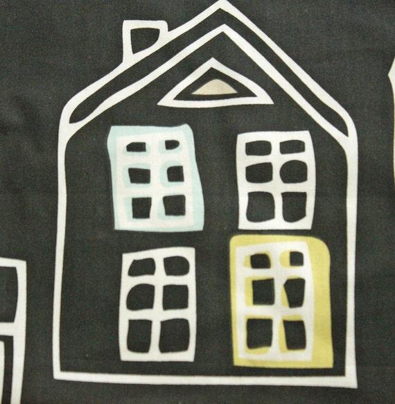 IKEA  fabric with houses - HALF YARD