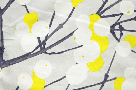 RESERVED FOR KRISTIN - Marimekko Lumimarja cotton, grey and yellow