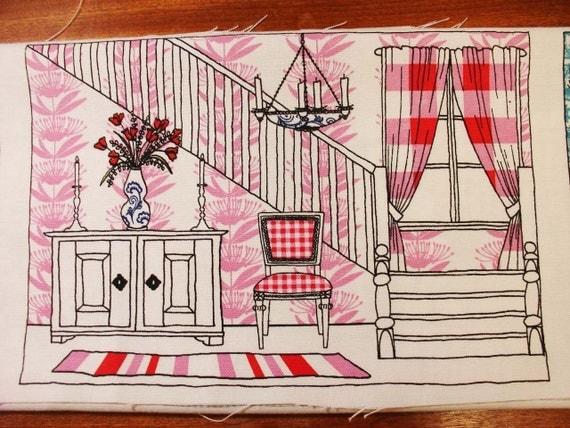 Fabric panel: hall, pink