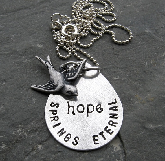 NEW Hope Springs Eternal Necklace, sterling silver teardrop disc hand stamped with sparrow charm